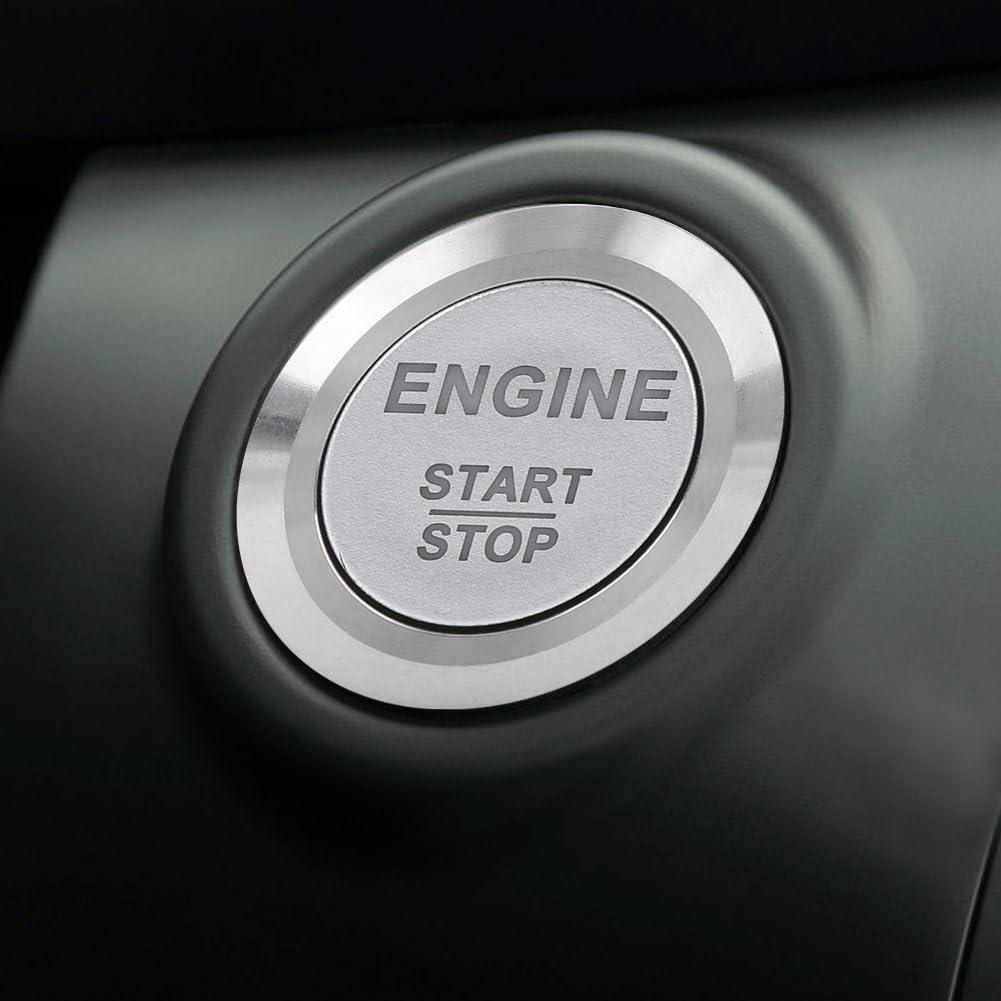 Qiilu 12V Drucktastenschalter Wei/ße LED Auto Motor Start Stop Druckschalter Schwarz Zink Aluminium Legierung Schwarz