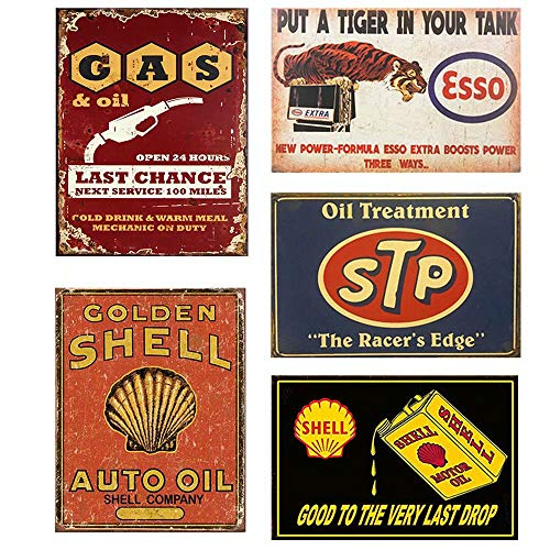 FlowerBeads Vintage Tin Signs Metal Poster Auto Motorcycle Gasoline Garage Shop Bar Home Wall Decoration (5PCS, Shell STP Motor Oil, 20X30CM)
