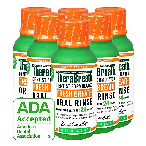 - TheraBreath Fresh Breath Oral Rinse, Mild Mint, 3 Ounce Bottle (Pack of 6)