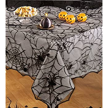 this item halloween black spider web haunted lace fabric tablecloth 60 x 84 rectangleoblong - Halloween Lace Fabric