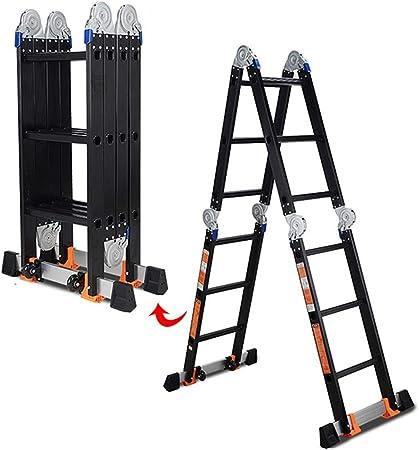 ZAQI Escalera Extensible Escalera telescópica Escalera Plegable de Aluminio, Escalera Andamio Ligero Multiuso Negro, Escalera de Extensión for Trabajo Pesado, Carga 150 kg (Size : 3 Step×4 Fold): Amazon.es: Hogar