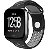 NO1seller Top Fitbit Versa Bands for Women Men Small Large, Soft Silicone Sport Strap Replacement with Ventilation Holes for Fitbit Versa Fitness Smart Watch