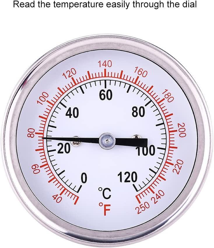 Barbacoa Termómetro Acero Inoxidable 0 ℃ -120 ℃ BBQ Grado Horno leña Bimetálico y Horno Barbacoa Termómetro Analógico