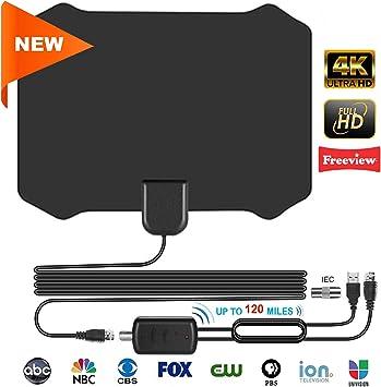 Antena TV Interior DVB-T, Mayor Rango de Recepción de 120 Millas, Digital HDTV Antena con Amplificador,4 Metros de Cables de Alto Rendimiento
