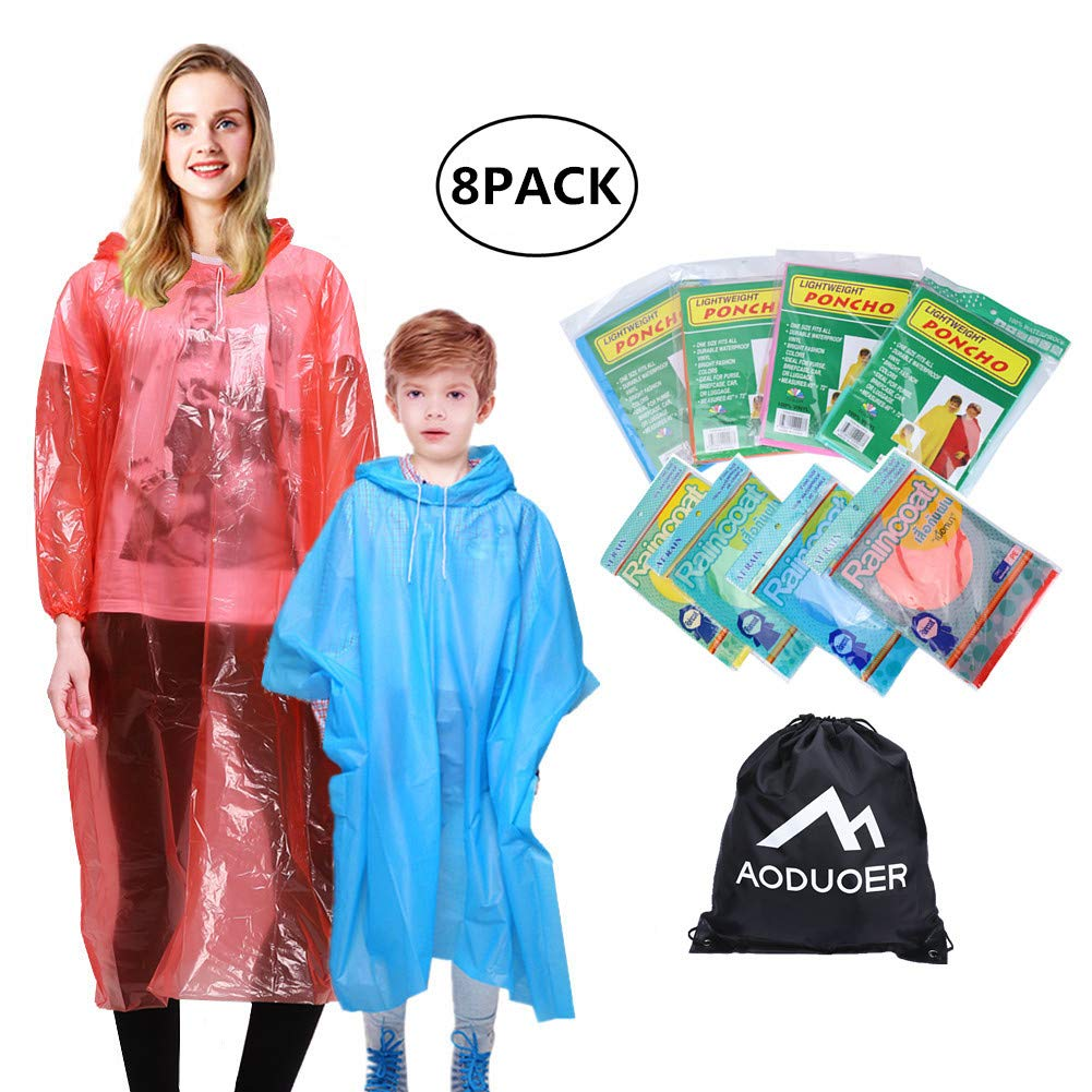 Aoduoer Rain Poncho Family Pack - Thicker Hooded Disposable Emergency Rain Ponchos for Women Men Teens Young Boys and Girls Rain Gear Poncho Coat Travel Accessories Survival Pack