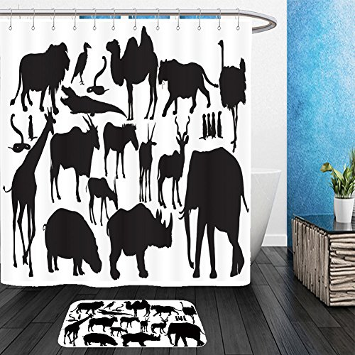 Cat Lion Costume Ebay - Vanfan Bathroom 2?Suits 1 Shower Curtains & ?1 Floor Mats african animals big group vector silhouette illustration lion elephant lioness rhino hyppo 592834223 From Bath room