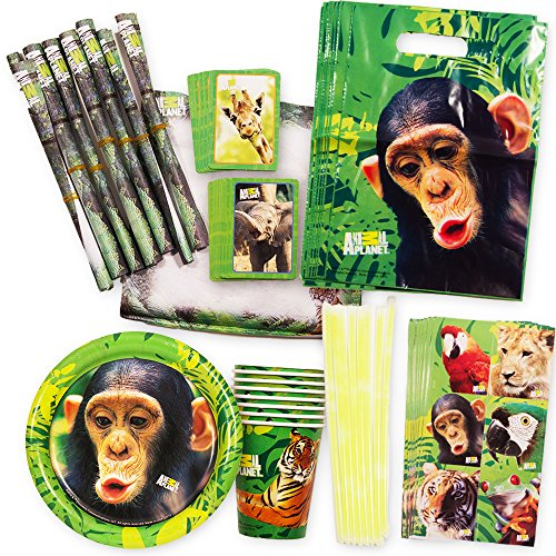 Zoo Animal Party Supplies Animal Planet Value Set (72 Pieces) -- 8 Plates, 8 Cups and 56 Party Favors! ()