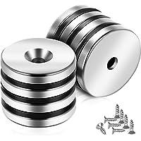 8 unidades de neodimio hierro boro potente imán redondo perforado 30 x 5 mm fuerte hoja magnética 5 mm agujero