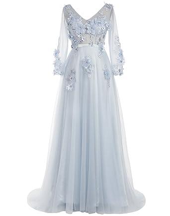 b37be794c0fdc Dressystar レディーズドレス ロング丈 手作りの花 アップリケ パーティードレス 結婚式ドレス 披露宴ドレス