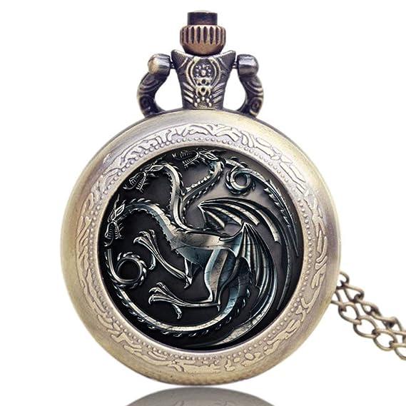 Game of Thrones US TV Series Relojes de Bolsillo para Hombres y Mujeres, Reloj de Bolsillo conmemorativo: Amazon.es: Relojes