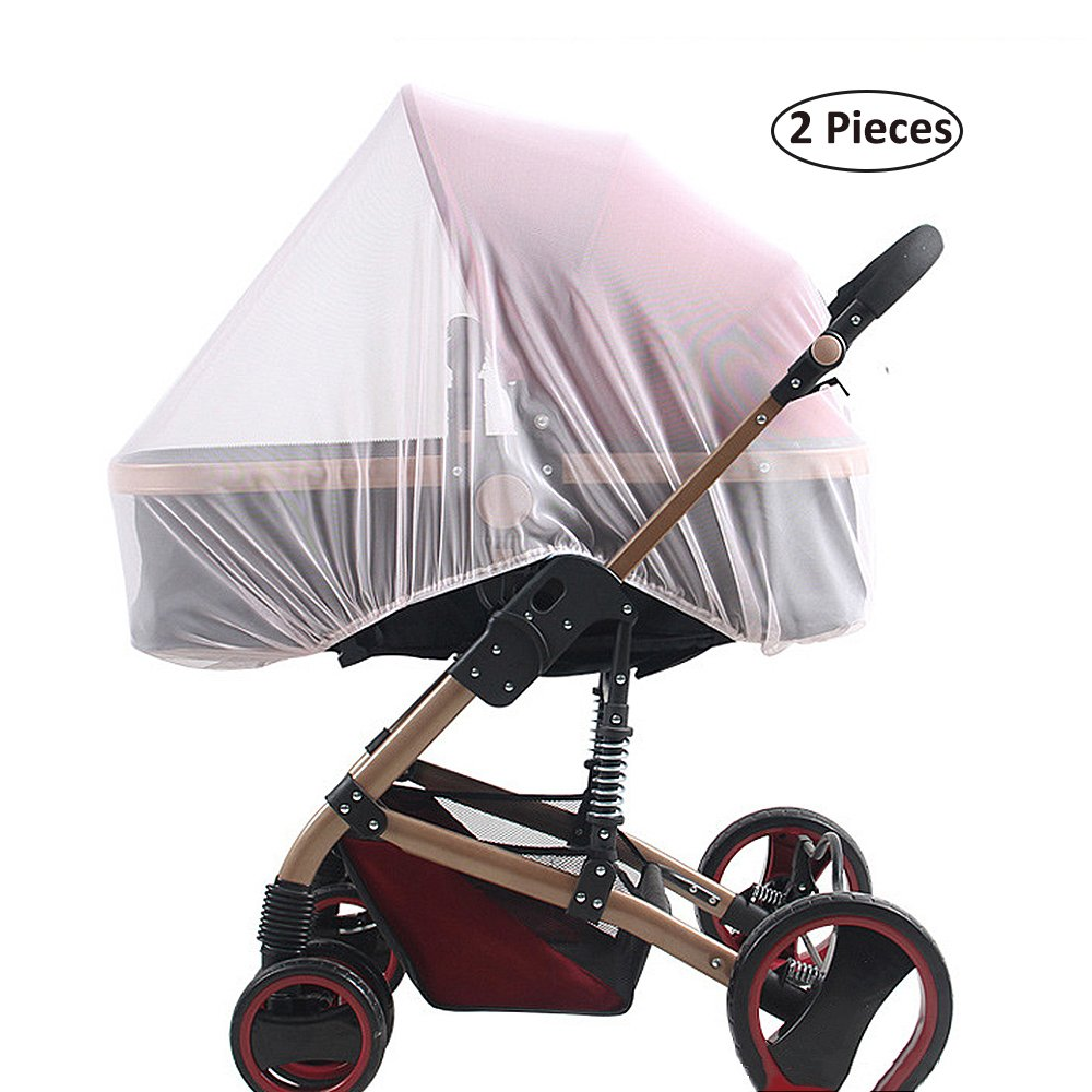 SYOOY 2 PCS Pram Mosquito Net Insect Netting for Baby Strollers Cribs Car Seats Cradles White