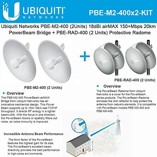Ubiquiti PBE-M2-400 (x2) PowerBeam 18dBi airMAX 150+Mbps 20km +PBE-RAD-400 (x2) by Ubiquiti Networks