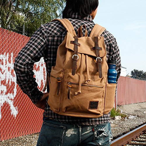 afabb4e9b215 GEARONIC TM 21L Vintage Canvas Backpack for Men Leather Rucksack ...