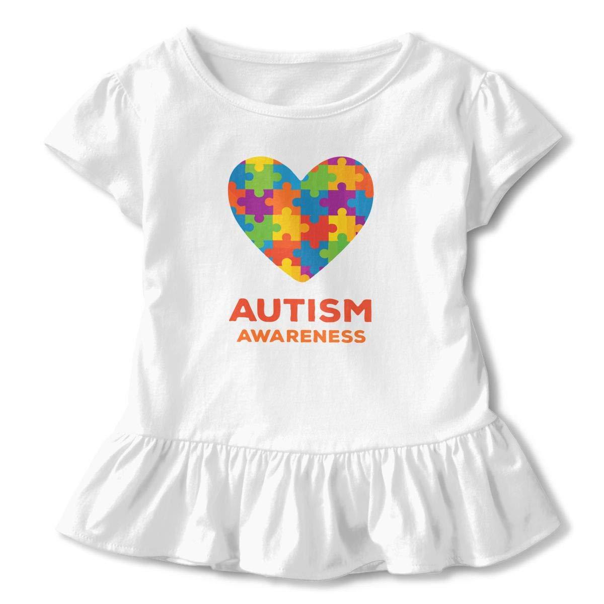 Cheng Jian Bo Autism Awareness Support Toddler Girls T Shirt Kids Cotton Short Sleeve Ruffle Tee