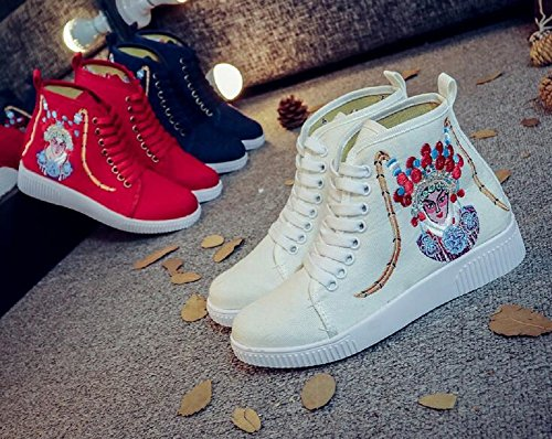 Lazutom Women Lady Vintage Embroidery Rubber Flats Ankle Sneaker Shoes White sScq30A