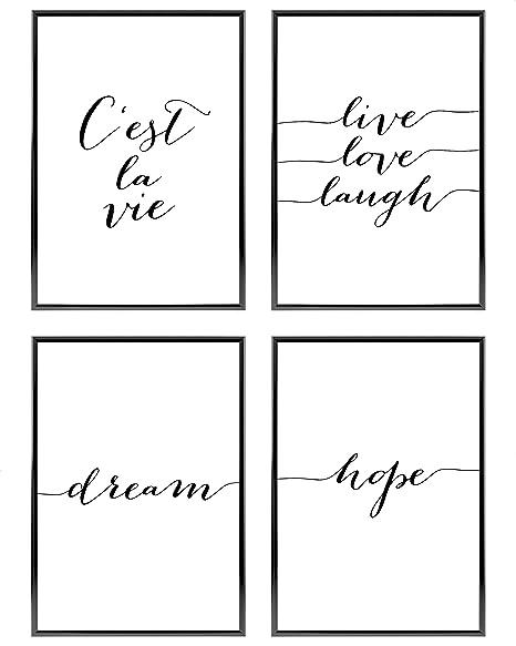 4 x A4   avec Cadres en Aluminium Argent /»Cest La Vie /« Set de Poster Premium pour la Maison 21x30cm Cuisine Bureau Chambre Heimlich/® Tableau D/écoration Murale Salon