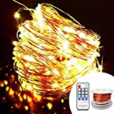 OrgMemory Copper LED Fairy Lights, (80 Ft, 240 Leds, Warm White, UL Listed Power Adapter), Room Lights, Garland Lights with Remote for Wedding, Xmas, Outdoor and Indoor Room Decor