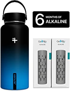GOFILTR Alkaline Water Bottle Hydration Kit   32 oz (950ml) Vacuum Insulated Stainless Steel Water Bottle   Wide Mouth + Two Alkaline Ionized Mineral Infusers
