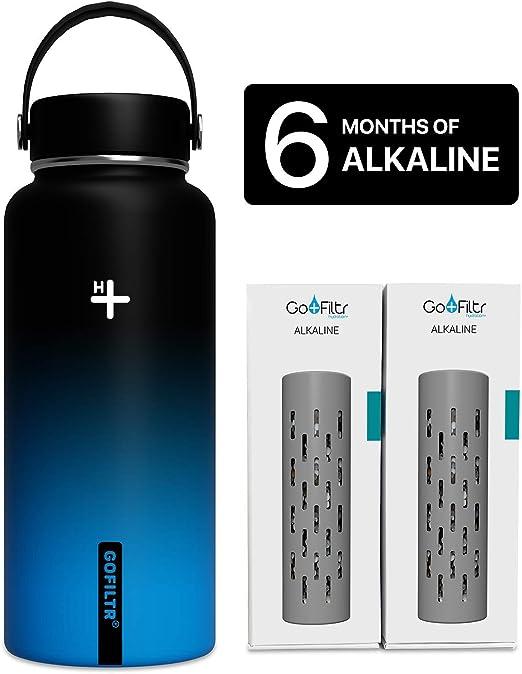 GOFILTR Alkaline Water Bottle Hydration Kit | 32 oz (950ml) Vacuum Insulated Stainless Steel Water Bottle
