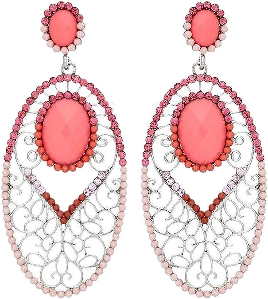 Schmuck-Krone - Pendientes de coral con brillantes, color rosa