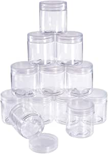 BENECREAT 12 Pack 2.4 Ounce Transparent Slime Storage Favor Jars Wide-Mouth Containers With Lids For Diy Slime,Ingredients,Party Favors And Other Crafts(2 X 2.2 Inch) 70ml/2.4oz 2x2.2 Inches (2.4oz)