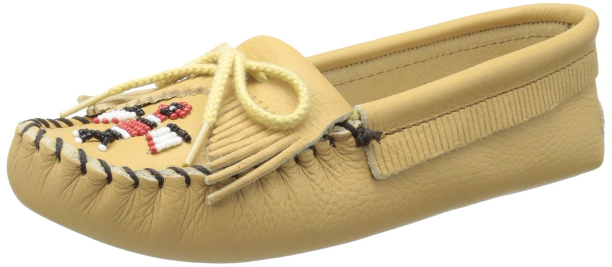 Minnetonka Women's Thunderbird Softsole Moccasin,Natural Smooth,6 M US