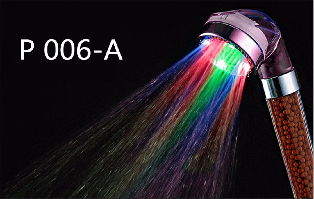 YU-Bathroom HOT LED Anion Shower SPA Shower Head Pressurized Water - Saving Temperature Control Colorful Handheld Big Rain Shower P 006 A