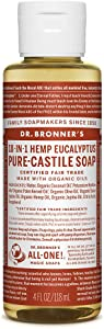 Dr. Bronner's - Pure-Castile Liquid Soap (Eucalyptus, 4 Ounce) - Made with Organic Oils, 18-in-1 Uses: Face, Body, Hair, Laundry, Pets and Dishes, Concentrated, Vegan