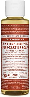product image for Dr. Bronner's - Pure-Castile Liquid Soap (Eucalyptus, 4 Ounce) - Made with Organic Oils, 18-in-1 Uses: Face, Body, Hair, Laundry, Pets and Dishes, Concentrated, Vegan