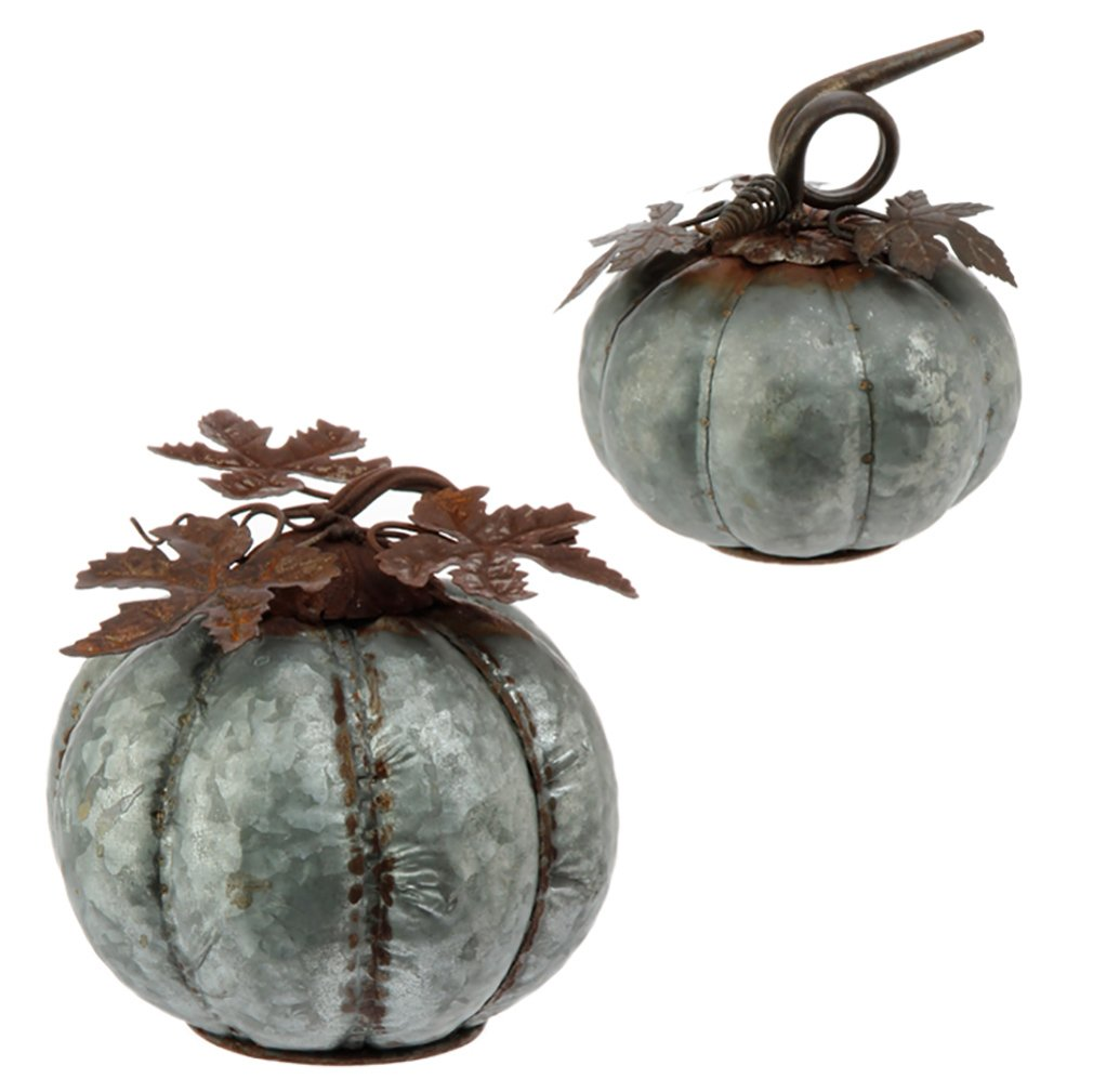 Set of 2 Iron Galvanized Silver 7 inch and 6 Inch Fall Harvest Tabletop Pumpkins