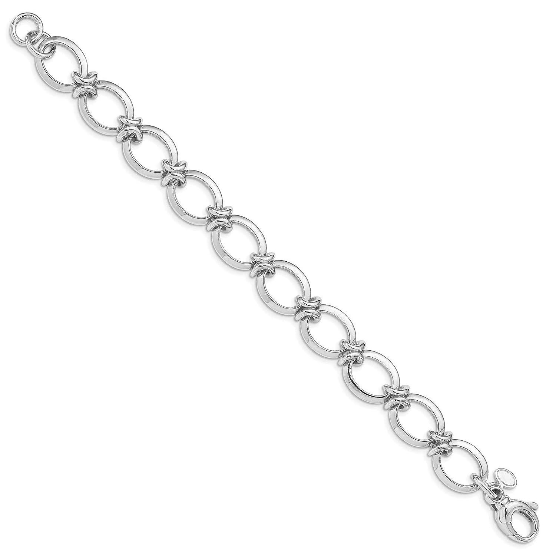 925 Sterling Silver Rhodium-plated Polished Fancy Link Bracelet 8