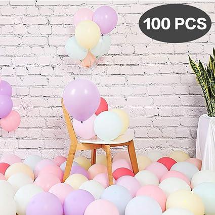 Extsud 100 Stück 10 Zoll Pastell Luftballons Bunte Luftballons Für Weihnachten Geburtstag Party Hochzeit Deko Taufe Deko Mädchen Schulanfang