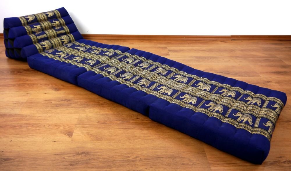 3 Fold Thai Cushion, 67x20x3 inches LxWxH , Silk Look, 100 Natural Kapok Filling, Foldable Thai Mat with Triangle Cushion, Headrest, Thai Pillow
