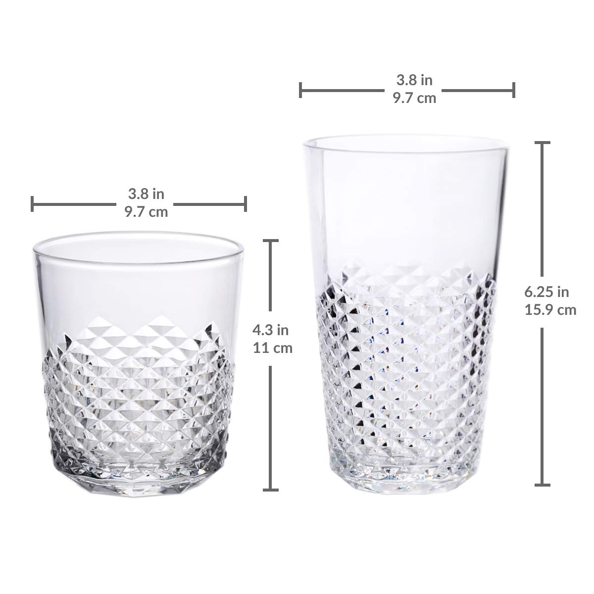 Cupture Diamond Plastic Tumblers BPA Free, 24 oz / 14 oz, 8-Pack (Clear) by Cupture (Image #7)