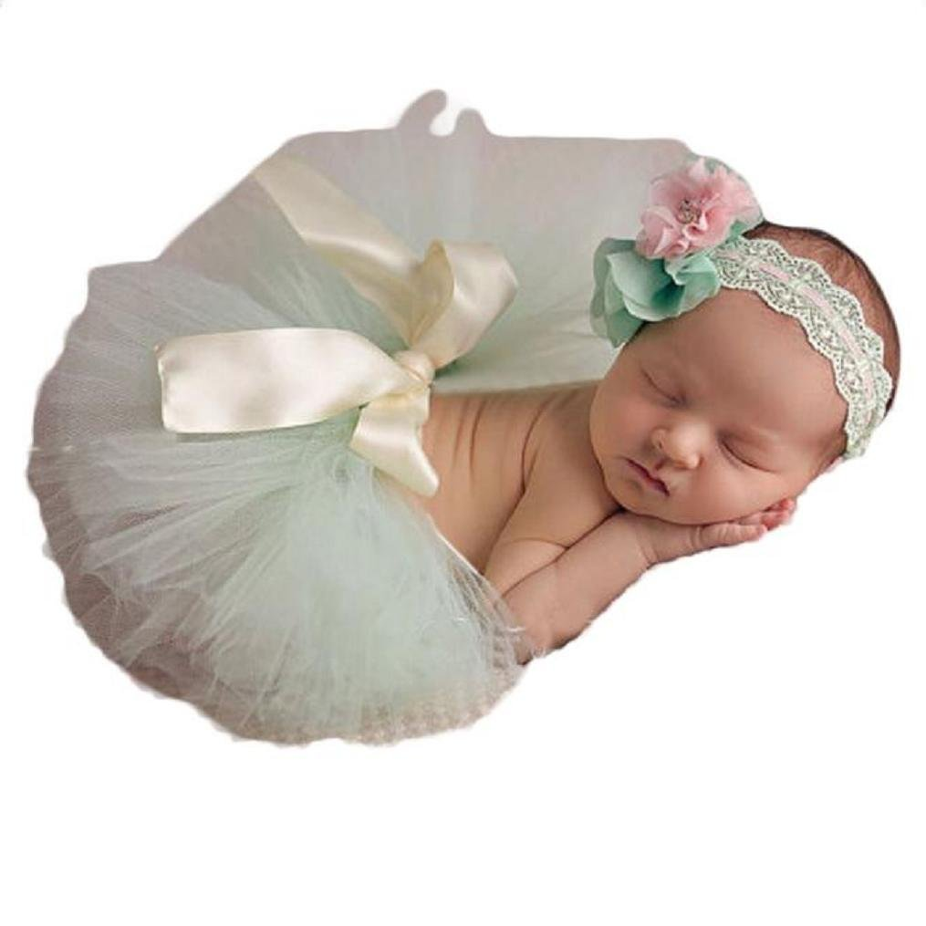 Koly Photography Prop Newborn Baby Girls Tutu Dress and Headband Christening Gift Set Koly-DG422