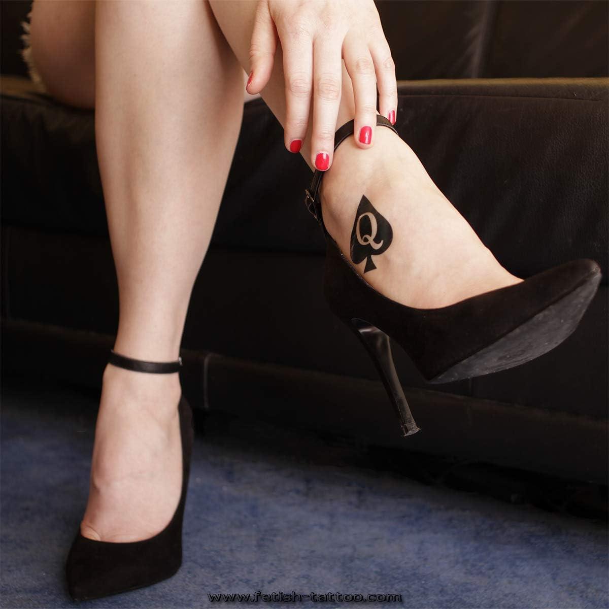 15 x Queen of Spades logo tatuaje temporal en negro - Hotwife ...