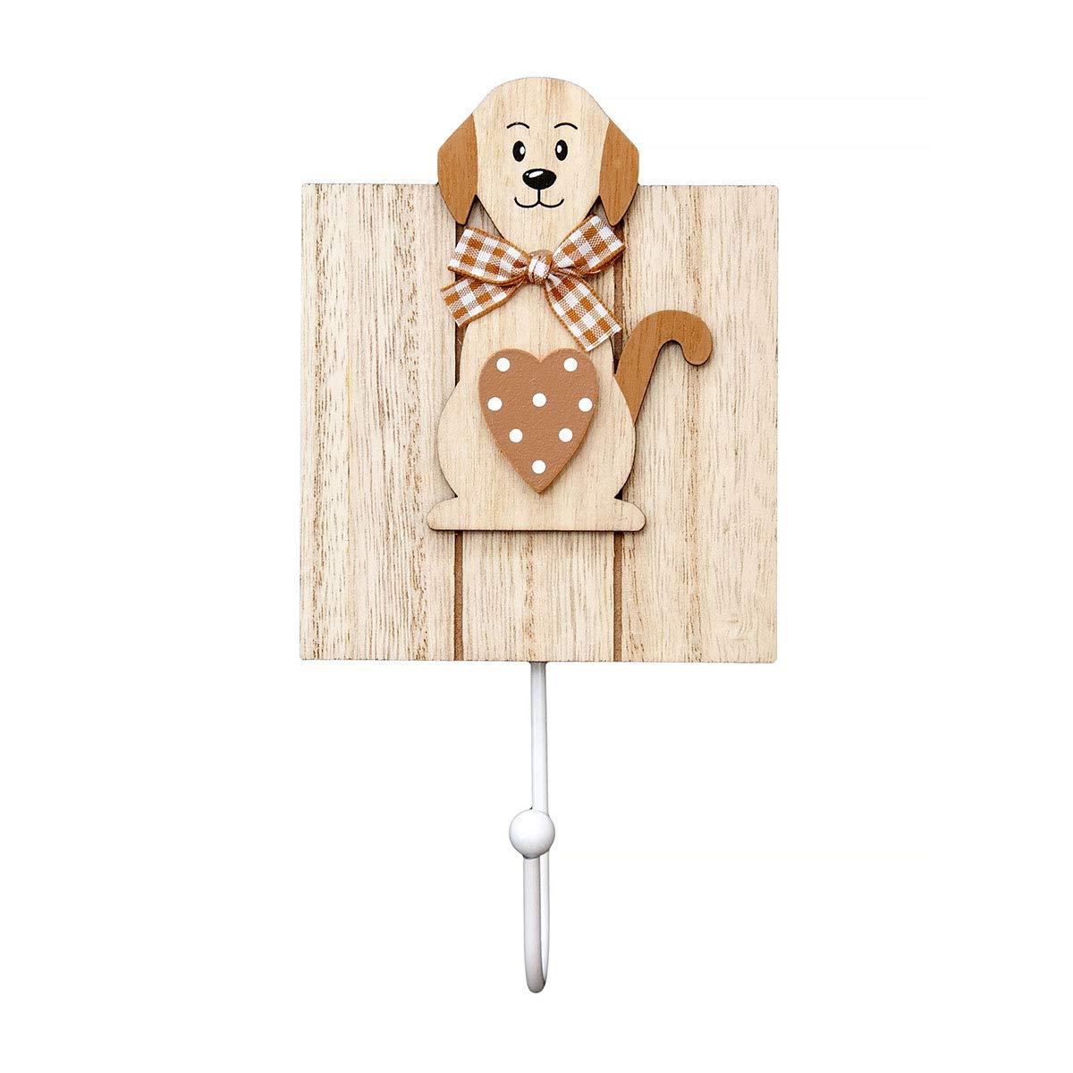 Conjunto de 3 ganchos de perchero pared madera colgador solo gancho con diseño de perro para pared o puerta en blanco y marrón diseño de perros lindo ...