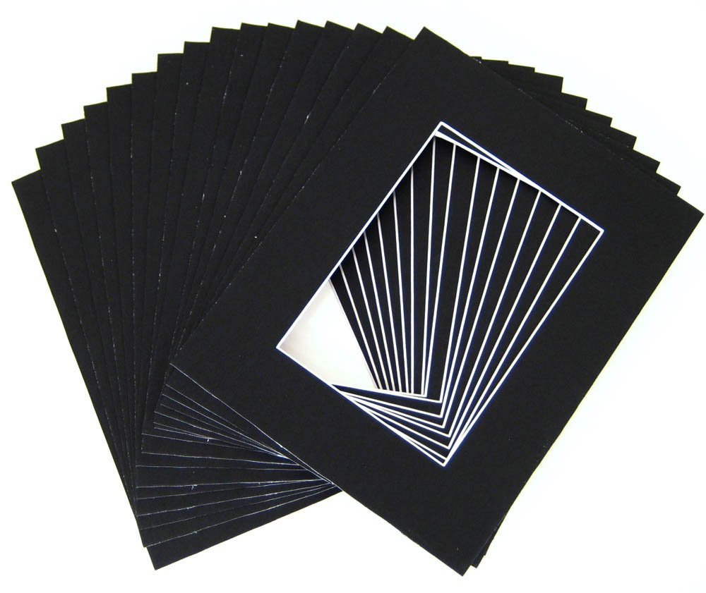 Pack of 25 11x14 BLACK Picture Mats Mattes with White Core Bevel Cut for 8x10 Photo +Backing +Bags by Golden State Art