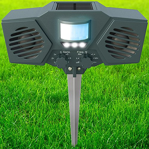 PestZilla Robust Solar Powered Ultrasonic and Flashing LED lights Outdoor Animal & Pest Repeller - Activated with Motion [UPGRADED VERSION]