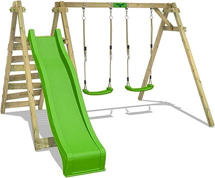 FATMOOSE Columpio infantil JollyJay Fast XXL Set de columpios Columpio de madera con 2 asientos de columpio, plataforma y tobogán: Amazon.es: Bricolaje y herramientas