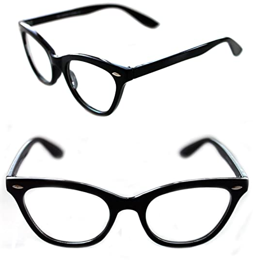 937af7ad4ad Small Women s Cat Eye 50 s Vintage Retro Style Two Tone Ombre Clear Frame  Clear Lens (