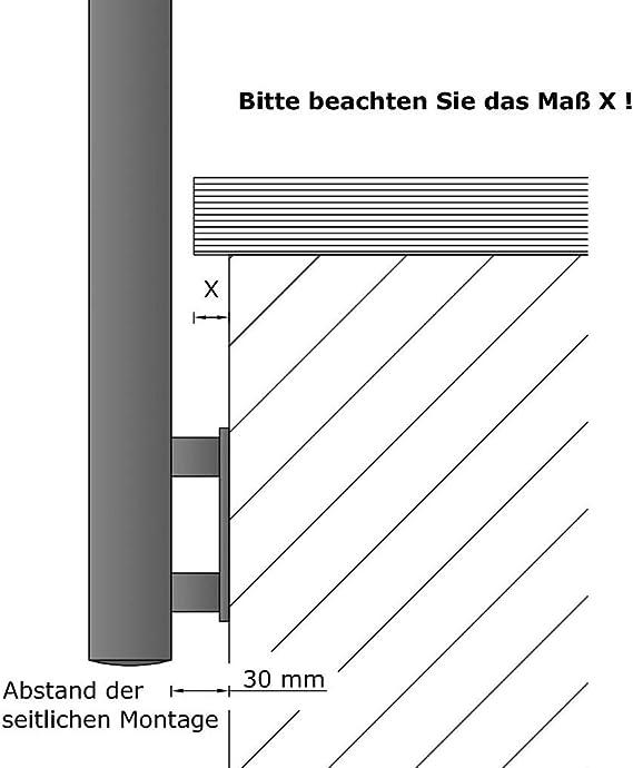 Gel/änder f/ür seitliche Montage an Treppen Balkone und Terrassen mit waagerechten Streben 300 cm mit 3 Pfosten und 4 Querstreben 90mm
