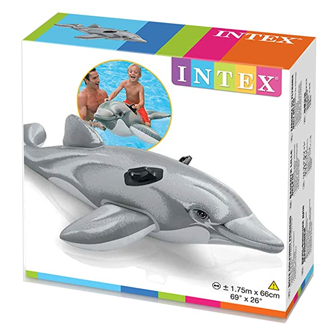 Intex 58535NP - Delfín hinchable acuático + 2 asas 175 x 66 cm: Amazon.es: Juguetes y juegos