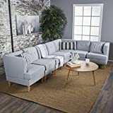 Milltown Mid Century Modern Fabric 7 Piece Sectional Sofa Set (Light Grey)