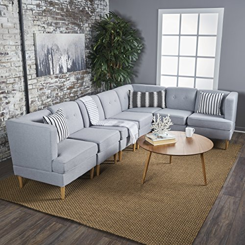 GDF Studio | Milltown Mid Century Modern Fabric 7-Piece Sectional Sofa Set | in Light Grey