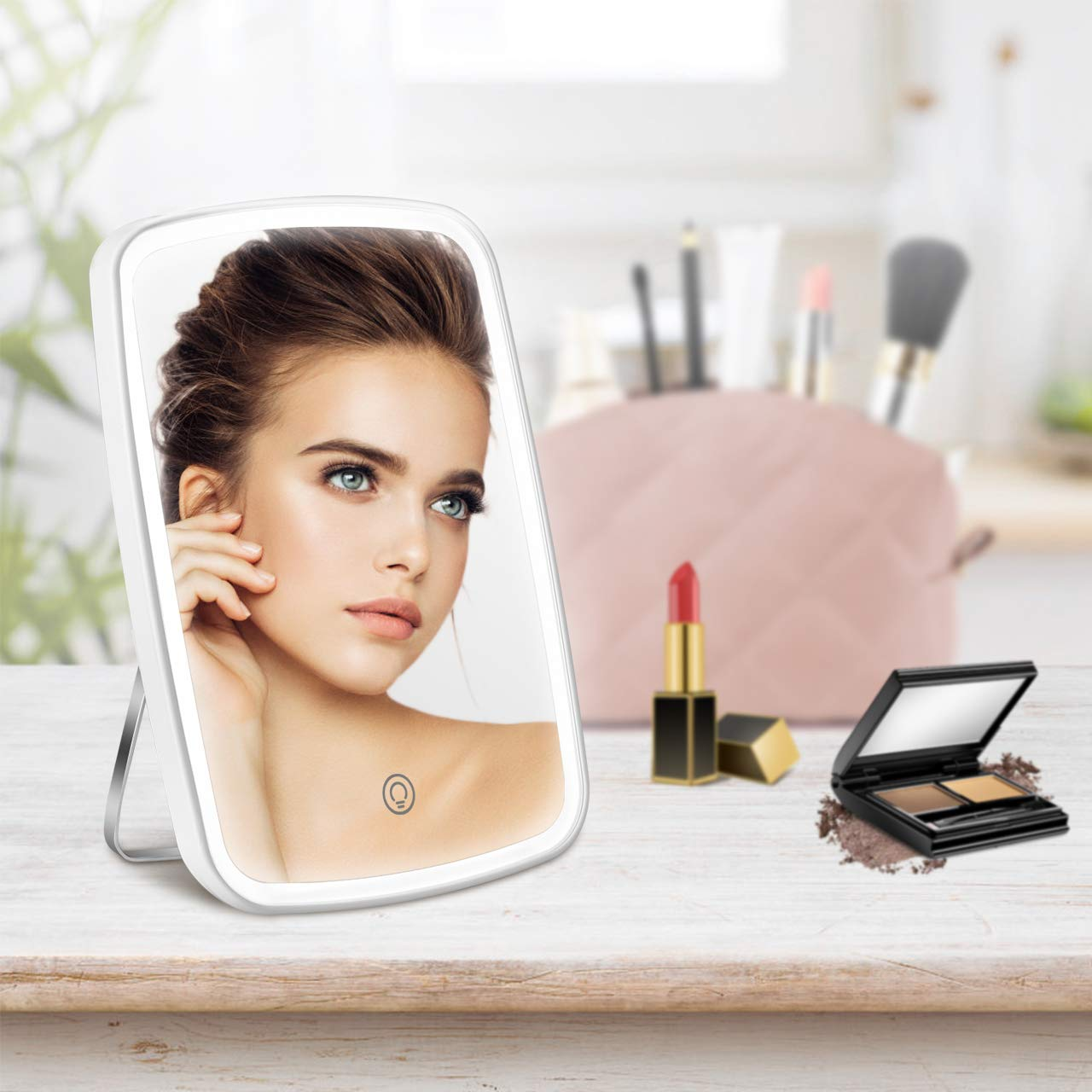 Lighted Makeup Mirror, Portable Makeup Mirror with Dimmable Lights, Touch Screen Switch, 1X/7X Magnifying LED Makeup Mirror, Adjustable Rotation, Battery or USB Operated, White
