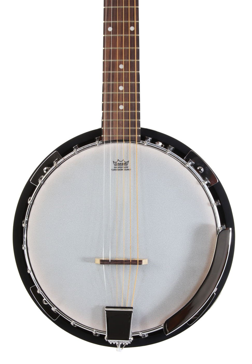 Left Handed 6 String Banjo Guitar with Closed Back Resonator and 24 Brackets Jameson Guitars BJ006LH