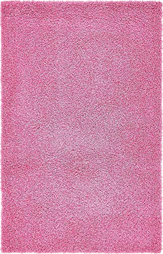 Unique Loom Solo Solid Shag Collection Modern Plush Taffy Pink Area Rug (5