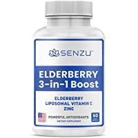 Premium Sambucus Elderberry with Liposomal Vitamin C, Zinc – 3 in 1 Immune Booster Supplement for Adults, Kids - 2 Month Supply - Powerful Daily Antioxidant