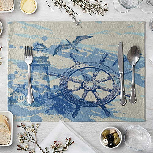 memorytime Fish Rudder Compass Heat Insulated Pad Kitchen Dining Table Mat Placemat Decor Kitchen Dining Supplies - 4# by memorytime (Image #6)